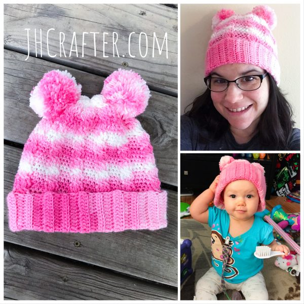 Colorful crochet cable hat