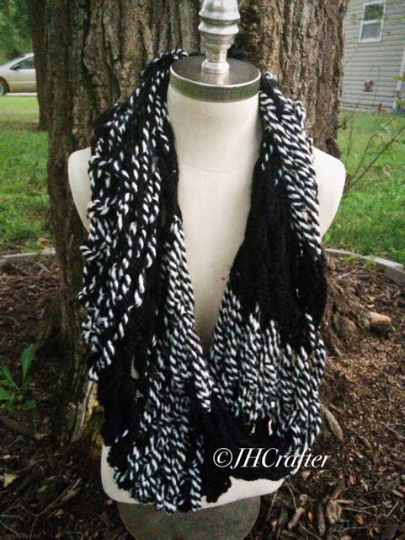 Black and White Arm Knit Infinity Scarf