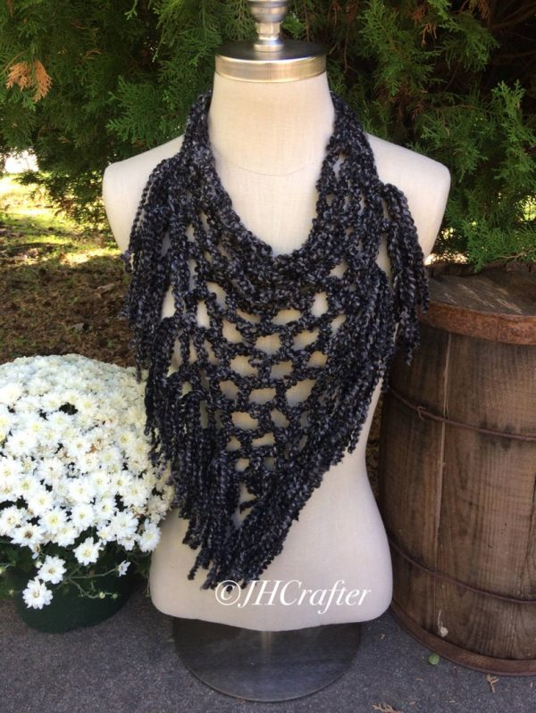 Black Pineapple Fringe Bandana Scarf, Triangle Scarf