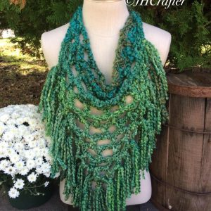 Green Pineapple Fringe Bandana Scarf, Triangle Scarf