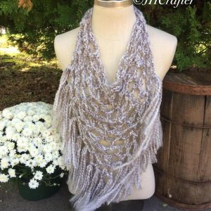Soft Tan's and White Pineapple Fringe Bandana Scarf, Triangle Scarf