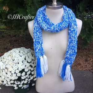 Blue and White Tassel Scarf