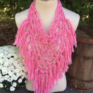 Hot Pink Pineapple Fringe Bandana Scarf, Triangle Scarf