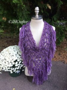 Purple Pineapple Fringe Bandana Scarf, Triangle Scarf