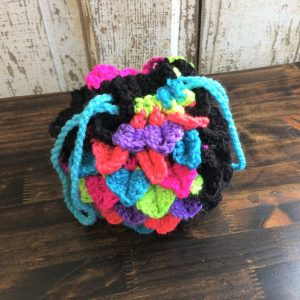 Neon and Black Dragon Egg Dice Bag