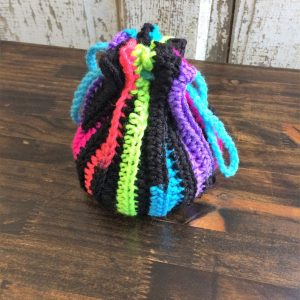 Neon and Black Striped Dice Bag