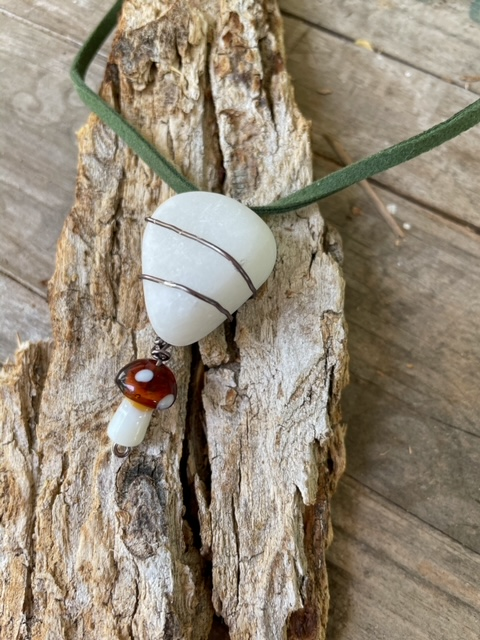 Mushroom and Marble Necklace