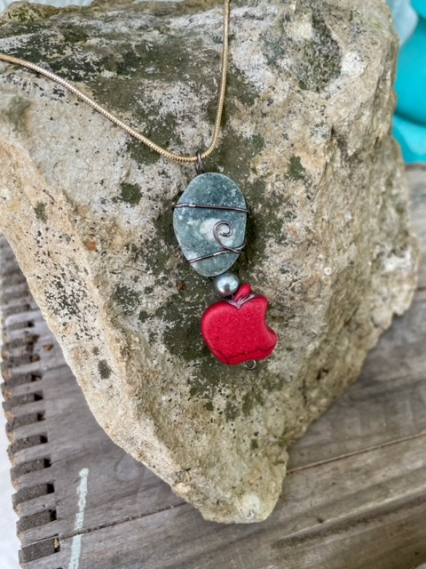 Apple and Basalt Necklace