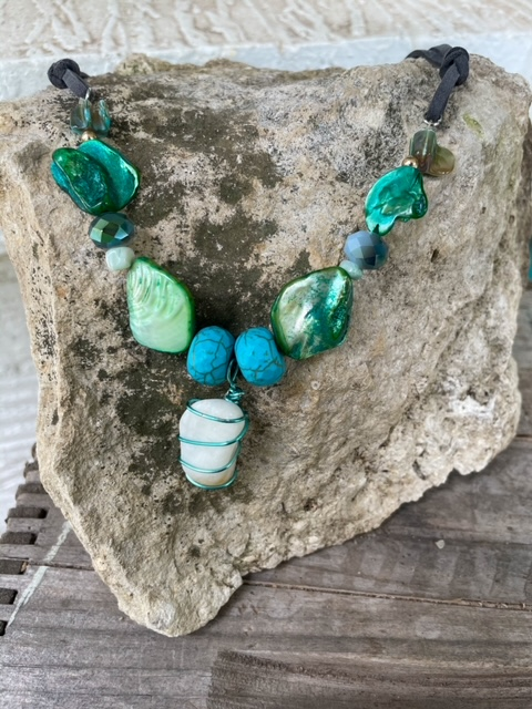 Marble and Shell Necklace